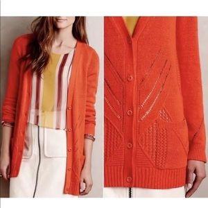 Anthropology Moth Orange Cardigan Medium Cashmere